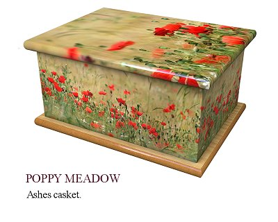 Poppy meadow ashes casket